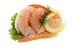 Sandwich garnish with shrimps Stock Photography