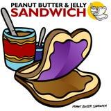 Sandwich à gelée de beurre d'arachide Photo stock