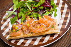 Sandwich with gravlax salmon Royalty Free Stock Photography