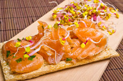 Sandwich with gravlax salmon Stock Photo