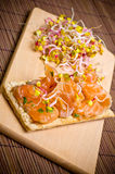 Sandwich with gravlax salmon Stock Images