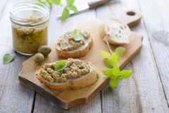 Sandwich with green olives paste Stock Photos