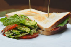Meat sandwiches with salad Royalty Free Stock Photography