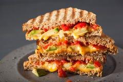 Sandwich grillé à fromage avec l'avocat et la tomate Image libre de droits