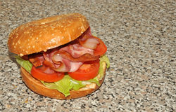 Sandwich grillé à lard et à bagel Photographie stock libre de droits