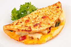 Sandwich with grilled chicken, cheese, pepper, on white background Royalty Free Stock Photography