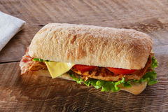 Sandwich with grilled chicken tomato bacon cheese Royalty Free Stock Images