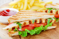 Sandwich with grilled chicken and tomatoes Stock Image