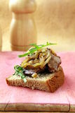 Sandwich with grilled liver and onions Royalty Free Stock Images