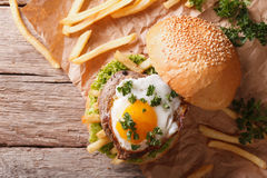 Sandwich with grilled meat, a fried egg and fries. horizontal to Royalty Free Stock Image