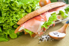 Sandwich with ham bocadillo Royalty Free Stock Images