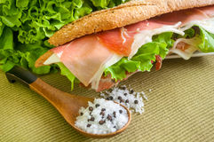 Sandwich with ham bocadillo Stock Photos