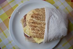 Sandwich with ham and brie. Served in Italy Royalty Free Stock Image