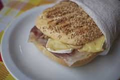 Sandwich with ham and brie. Served in Italy Stock Photo
