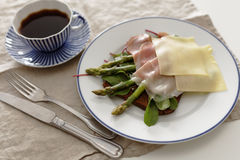 Sandwich with ham, cheese, and asparagus Stock Images
