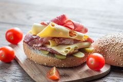 Sandwich with ham, cheese and cherry tomatoes Stock Photos