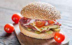 Sandwich with ham, cheese and cherry tomatoes Stock Images
