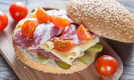 Sandwich with ham, cheese and cherry tomatoes Royalty Free Stock Photo