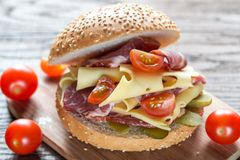 Sandwich with ham, cheese and cherry tomatoes Stock Photo