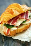Sandwich with ham and cheese close up. Royalty Free Stock Images