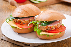 Sandwich with ham. Cheese and fresh vegetables Royalty Free Stock Photo