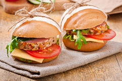 Sandwich with ham. Cheese and fresh vegetables Stock Photo