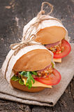 Sandwich with ham. Cheese and fresh vegetables Royalty Free Stock Photography