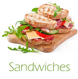 Sandwich with ham, cheese and fresh vegetables Royalty Free Stock Photography