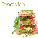 Sandwich with ham, cheese and fresh vegetables Stock Images