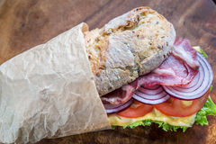 Sandwich with ham, cheese and fresh vegetables Stock Image