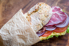 Sandwich with ham, cheese and fresh vegetables Stock Photography