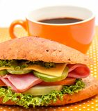 Sandwich Ham Cheese Indicates Coffee Shop And Decaf. Roll Coffee Breakfast Showing Ham Cheese Sandwich And Delicatessen Delicious stock images