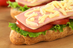 Sandwich with Ham, Cheese, Lettuce and Tomato Stock Photography