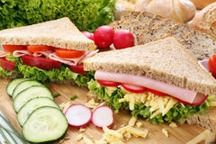 Sandwich with ham, cheese and radish Royalty Free Stock Image