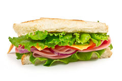 Sandwich with ham, cheese and tomato Royalty Free Stock Photos