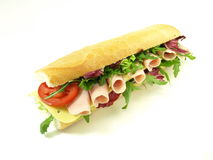 Sandwich with ham, cheese, tomato and lettuce Stock Photography