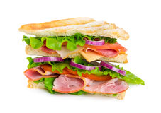 Sandwich with ham, cheese, tomato and onion Royalty Free Stock Photos