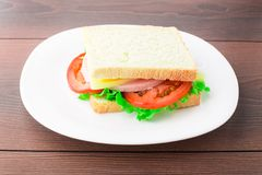 Sandwich with ham, cheese and tomato Stock Photography