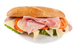 Sandwich with Ham, Cheese and Tomato Royalty Free Stock Photo