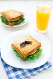 Sandwich with ham, cheese, tomatoes and lettuce Stock Image