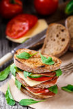 Sandwich with ham, cheese and vegetables Royalty Free Stock Photos