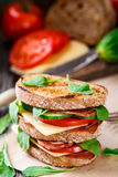 Sandwich with ham, cheese and vegetables Stock Images