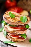 Sandwich with ham, cheese and vegetables Stock Photo