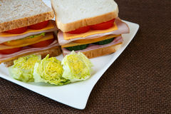 Sandwich with ham, cheese and vegetables Royalty Free Stock Image