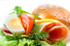 Sandwich with ham,cheese, vegetables and egg Royalty Free Stock Image