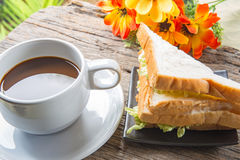 Sandwich with ham and coffee Royalty Free Stock Image