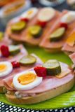 Sandwich with ham, egg, cucumber and pepper Royalty Free Stock Photos