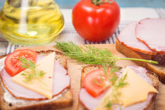 Sandwich with ham Royalty Free Stock Photos