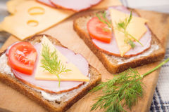 Sandwich with ham Royalty Free Stock Photography
