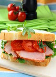 Sandwich with ham and fresh vegetables Royalty Free Stock Photo